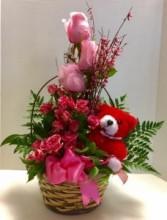 Valentine Hug Custom Basket of Flowers / Bear