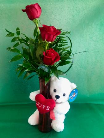 Valentine Huggie Bear Three-bud Rose Vase