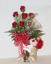 Valentine Puppy 1/2 dozen roses with plush puppy