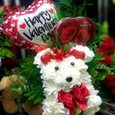 Valentine Puppy Love Basket of Carnations and mums sculpted into a puppy!!