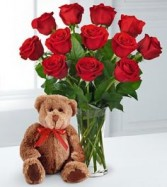 Valentine Rose Bouquet & Bear