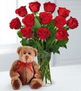 Valentine Rose Bouquet & Bear