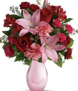 Valentine Roses and Pearls Vase Arrangement