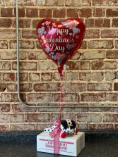 Valentine Snack Box, Plush, & Mylar  Gift Item