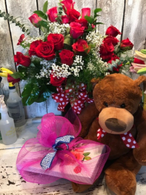 Valentine Special 2 doz. roses /Bearand Candy combo