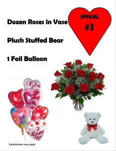 Valentine Special #3 Doz L.S red roses, Plush Bear & Lg Balloon