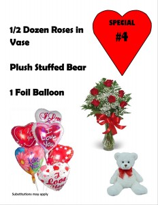 Valentine Special #4 6 Red roses in vase, Plush bear, & Sm balloon