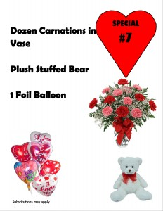 Valentine Special #7 Doz Carnations in vase, Plush Bear  & Lg Balloon