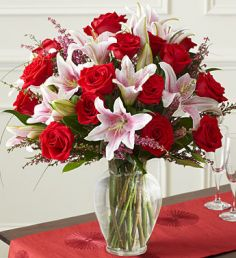 Valentine Splendor Red Roses, Lilies in Los Angeles, CA | MY BELLA FLOWER
