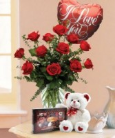 Valentine Sweetheart Package Roses, Plush Bear, Chocolates,and Balloon