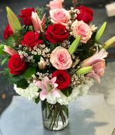 Valentine Sweetness Bouquet Vased Arrangement