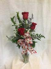 Valentine Triple Rose Budvase