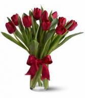 Valentine Tulips Vase Arrangement