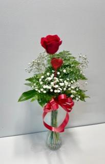 1 Rose Vased  1 Red Rose