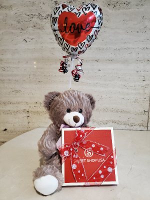 Valentine's Bear Chocolate and Ballon  in Charlotte, NC | FLOWERS PLUS