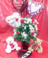 Valentine's Bundle Dozen Long-Stemmed Red Roses, Chocolates, Bear & Balloon
