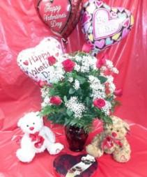Valentine's Bundle Dozen long stemmed roses, chocolates, bear & balloon