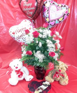 Valentine's Bundle Dozen Long-Stemmed Roses, Chocolates, Bear & Balloon