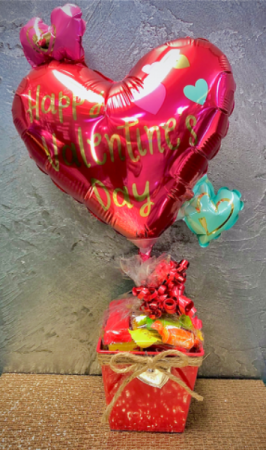 Valentines Candy and Balloon  Bucket