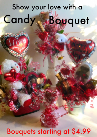 Valentine's Candy Bouquets Designed in our store