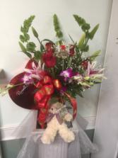 Valentine's combo flowers chocolate and bear Love out loud.