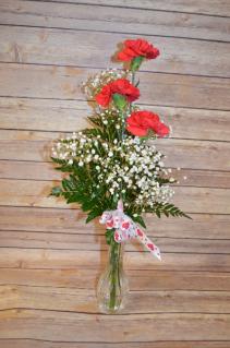 Valentine's Day 3 Carnation Bud Vase