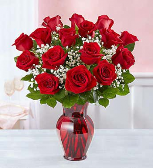 Beautiful 18 Red Roses Arranged in Vase in Margate, FL | THE FLOWER SHOP OF MARGATE