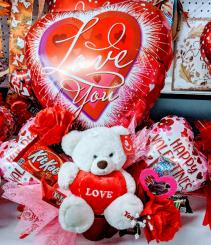 Valentine's Day Balloon Basket Gift Basket