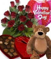 Valentines Day Bundle Roses,Mylar,Chocolates & Bear