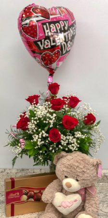 Valentine's Day Deluxe Package Arrangment in Saint Simons Island, GA | A COURTYARD FLORIST