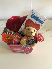 Valentine's Day Dog, Candy Arrangement with Mylar  Holiday Gift