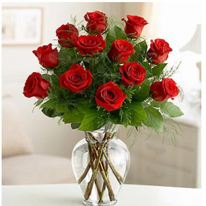 Beautiful One Dz Red Roses  Arranged in Vase in Margate, FL | THE FLOWER SHOP OF MARGATE