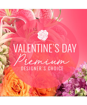 Valentine's Day Florals Premium Designer's Choice in Kings Mountain, NC | FLOWERS BY THE FALLS