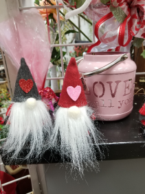 Valentine's Day Gnome with Fresh Mixed Vase