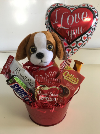 Valentine's Day Puppy and Candy Arrangement  Holiday Gift