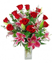 One Dozen Roses With Lilies