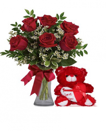 Valentine's Day Special 6 Red Roses & Stuffed Animal