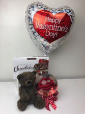 Valentine's Day Special  Rose Bubble, Chocolates, Mylar balloon and Plush