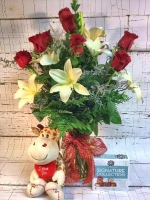 Valentine's Deluxe Package Arrangement in Saint Louis, MO   Irene's Floral Design