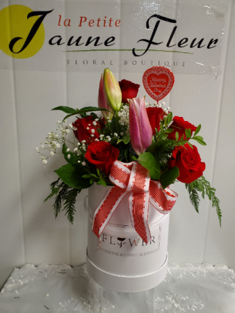 Valentines-Flower Box of Love 8-12 Roses with Oriental Lilies added
