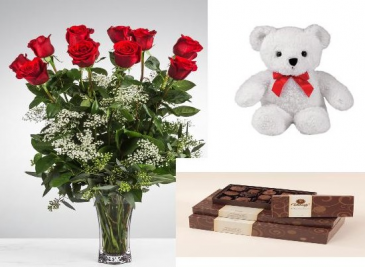 Valentine's Love Bundle Roses, Teddy Bear and Coblentz Chocolates