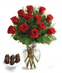 VALENTINES SPECIAL $99.99 Dozen Roses & 6-Chocolate Covered Strawberries