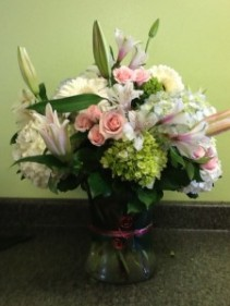 Valentines Pink Vase Arrangement