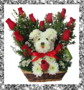 Valentine's Puppy Love Red Roses with Puppy Floral Design