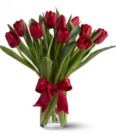 Valentine's Red Tulips Arrangement