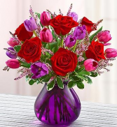 Valentine's Roses & Tulips Arrangement