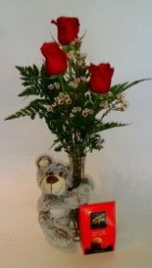 Valentine's Sampler Bud Vase Arrangement, chocolates and teddy