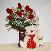 Valentines Special Dozen Roses//Candy//Bear