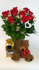 Valentine's Special Package Roses, Chocolates and a Teddy