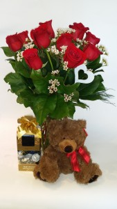 My Sweet Valentine Roses, Chocolates and a Teddy in Delta, BC | FLOWERS BEAUTIFUL